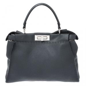 Fendi Grey Selleria Leather Medium Peekaboo Top Handle Bag