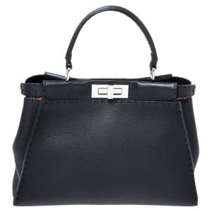 Fendi Black Selleria Leather Medium Peekaboo Top Handle Bag