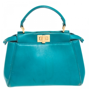 Fendi Turquoise Leather Mini Peekaboo Top Handle Bag