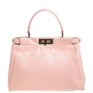 Fendi Pink/White Checkered Leather Sequin Lining Medium Peekaboo Top Handle Bag