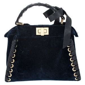 Fendi Dark Blue Velvet Mini Whip Stitched Peekaboo Top Handle Bag