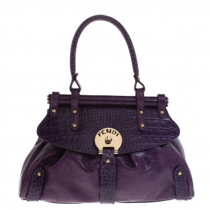 Fendi Purple Embossed Leather Magic Top Handle Bag
