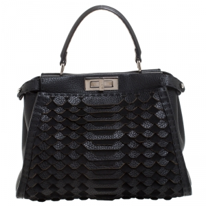 Fendi Black Lasercut Selleria Leather Small Peekaboo Top Handle Bag