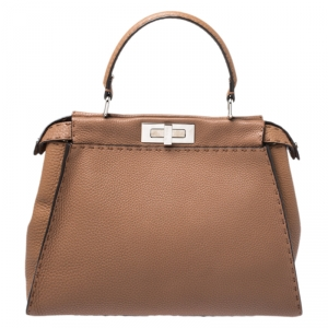 Fendi Tan Selleria Leather Medium Peekaboo Top Handle Bag
