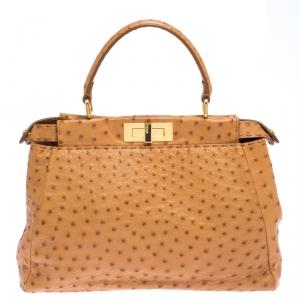Fendi Tan Ostrich Medium Peekaboo Top Handle Bag