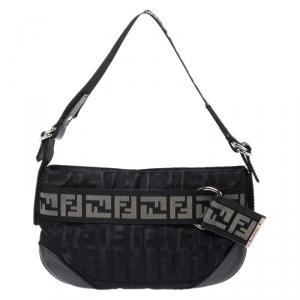 Fendi Black Zucca Nylon Handbag