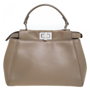 Fendi Beige Leather Mini Peekaboo Top Handle Bag