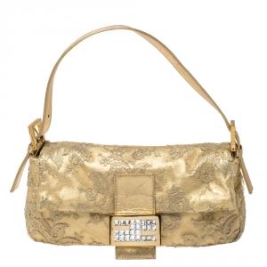 Fendi Metallic Gold Leather and Lace Crystal Embellished Baguette Shoulder Bag