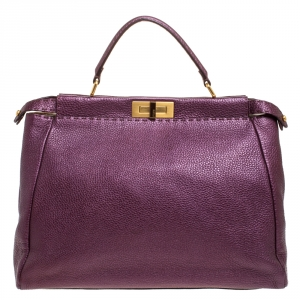 Fendi Purple Selleria Leather Large Peekaboo Top Handle Bag