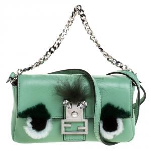 Fendi Green Leather and Fur Trim Micro Buggie Baguette Shoulder Bag