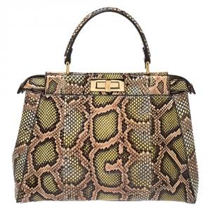 Fendi Tri Color Python Medium Peekaboo Top Handle Bag