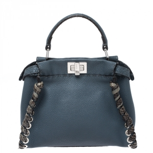 Fendi Blue Selleria Leather and Python Mini Peekaboo Top Handle Bag