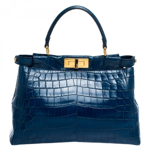 Fendi Blue Crocodile Medium Peekaboo Top Handle Bag