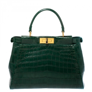 Fendi Green Crocodile Medium Peekaboo Top Handle Bag
