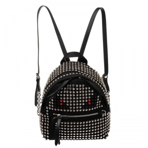 Fendi Black Nylon Monster Studs Mini Black Backpack