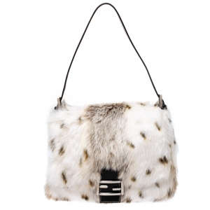 Fendi White/Brown Rabbit Fur and Leather Baguette Bag