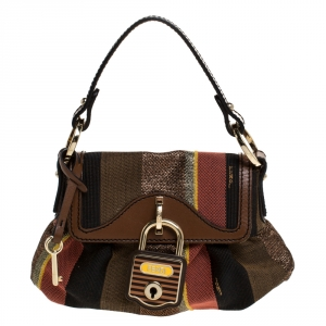 Fendi Multicolor Stripe Canvas and Leather Limited Edition Chef Flap Bag