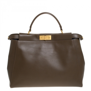 Fendi Brown Leather Large Peeakboo Top Handle Bag