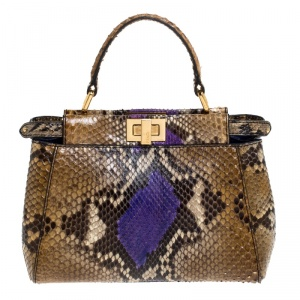 Fendi Multicolor Pytho Mini Peekaboo Top Handle Bag