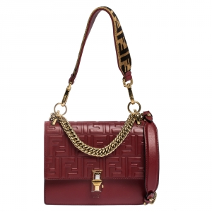 Fendi Red Leather and Velvet Small Kan I Top Handle Bag