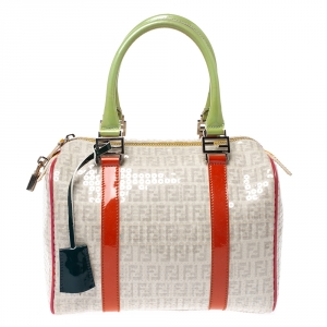 Fendi Multicolor Zucchino Coated Canvas/Sequins and Patent Leather Small Forever Bauletto Boston Bag