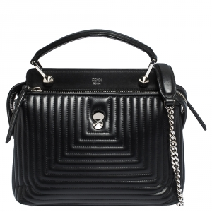 Fendi Black Quilted Leather Dotcom Top Handle Bag