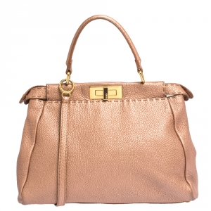 Fendi Metallic Peach Selleria Leather Medium Peekaboo Top Handle Bag