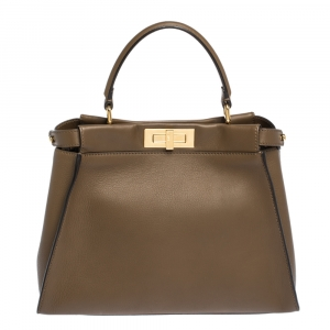 Fendi Brown Leather Medium Peekaboo Top Handle Bag