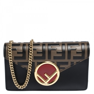 Fendi Black/Brown Zucca Embossed Logo Leather Liberty Belt Bag