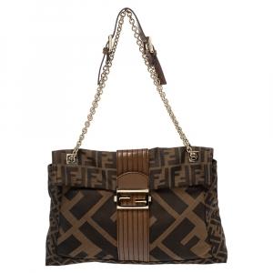 Fendi Tobacco Zucca Canvas and Leather Maxi Baguette Flap Shoulder Bag