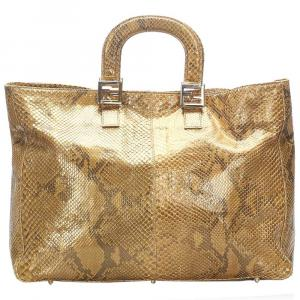 Fendi Brown Snakeskin Leather Tote Bag