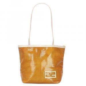 Fendi Orange/Ivory Perforated Leather Tote Bag