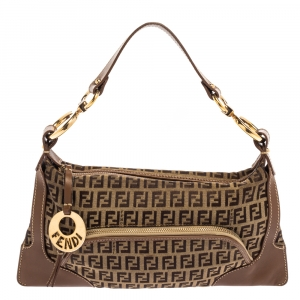 Fendi Tobacco Zucchino Canvas and Leather Front Pocket Shoulder Bag