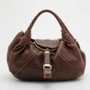 Fendi Brown Corded Leather Spy Satchel