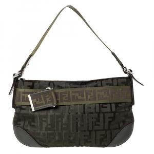 Fendi Green Zucca Nylon and Leather Pochette Bag
