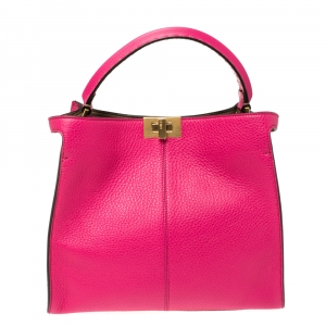 Fendi Magenta Leather Peekaboo X-Lite Top Handle Bag