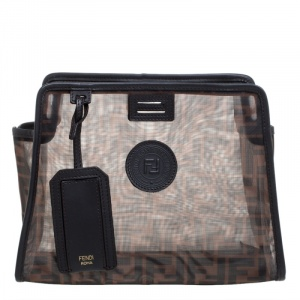 Fendi Brown Zucca Mesh and Leather Small Peekaboo Defender Pouch