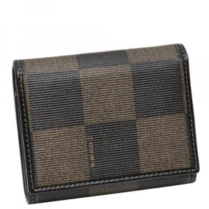 Fendi Brown Leather Tri-fold Pequin Wallet