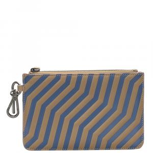 Fendi Beige/Brown Stripped Leather Pouch