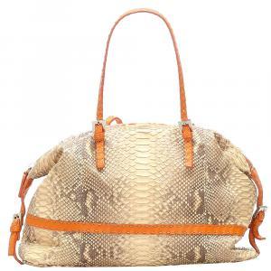 Fendi Brown/Orange Python Leather Selleria Shoulder Bag