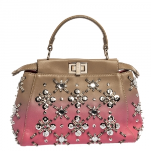 Fendi Pink/Beige Ombre Leather Mini Peekaboo Crystal Embellished Top Handle Bag