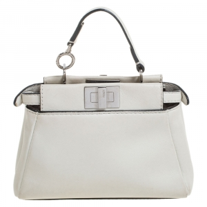 Fendi White Leather Micro Peekaboo Crossbody Bag