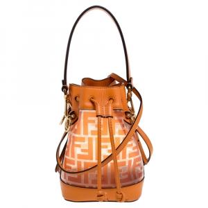 Fendi Orange Zucca PVC and Leather Mini Mon Tresor Drawstring Bucket Bag