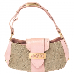 Fendi Pink/Beige Zucca Canvas and Leather Logo Flap Baguette Bag