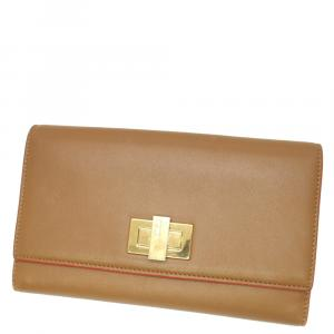 Fendi Brown Leather Peekaboo Wallet