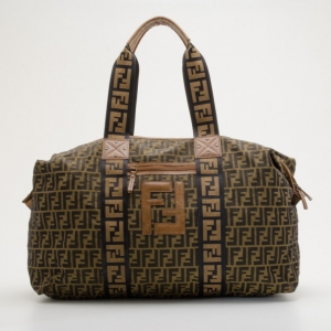 Fendi Tobacco Zucca Canvas Large Boston Bag