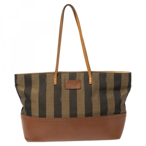 Fendi Brown/Tobacco Pequin Striped Canvas and Leather Roll Tote