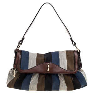 Fendi Multicolor Striped Canvas Limited Edition Chef Flap Bag