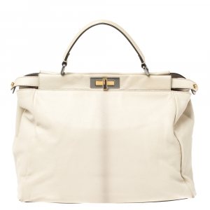 Fendi Cream Leather Large Peekaboo Top Handle Bag