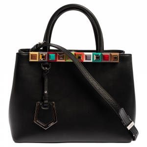 Fendi Black Leather Studded Petite 2Jours Tote